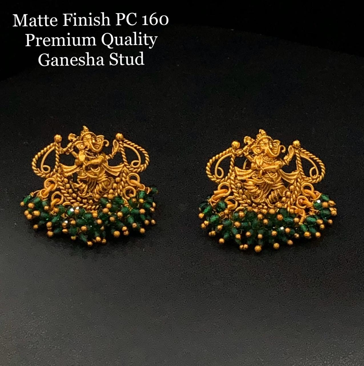 Beautiful one gram gold Ganesha Studs. one gram gold ornaments online one gram gold bridal sets online with price one gram gold models