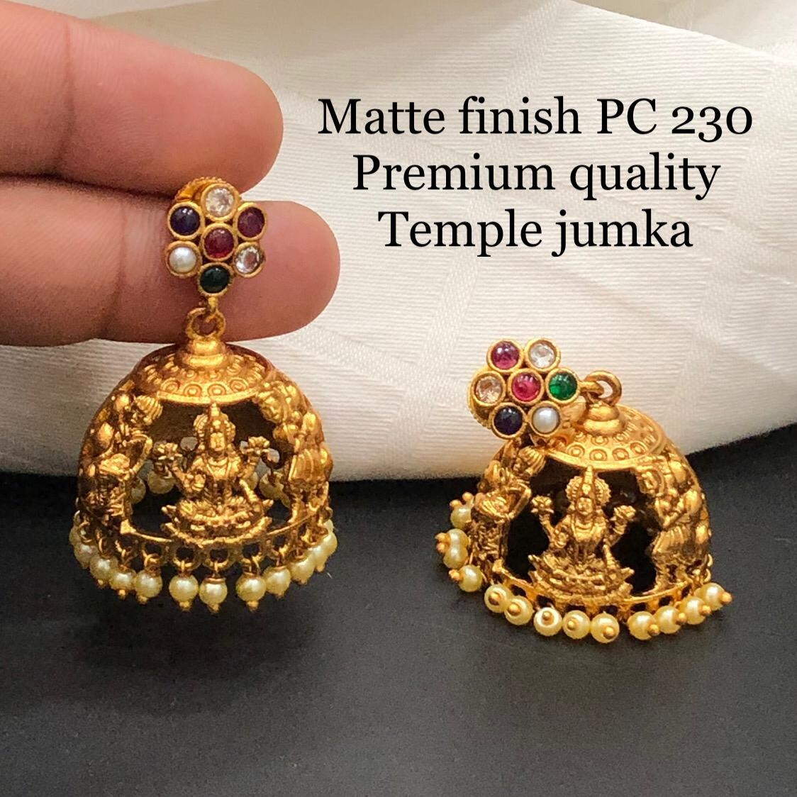 Beautiful one gram gold matt finish lakshmi temple jumkhi.