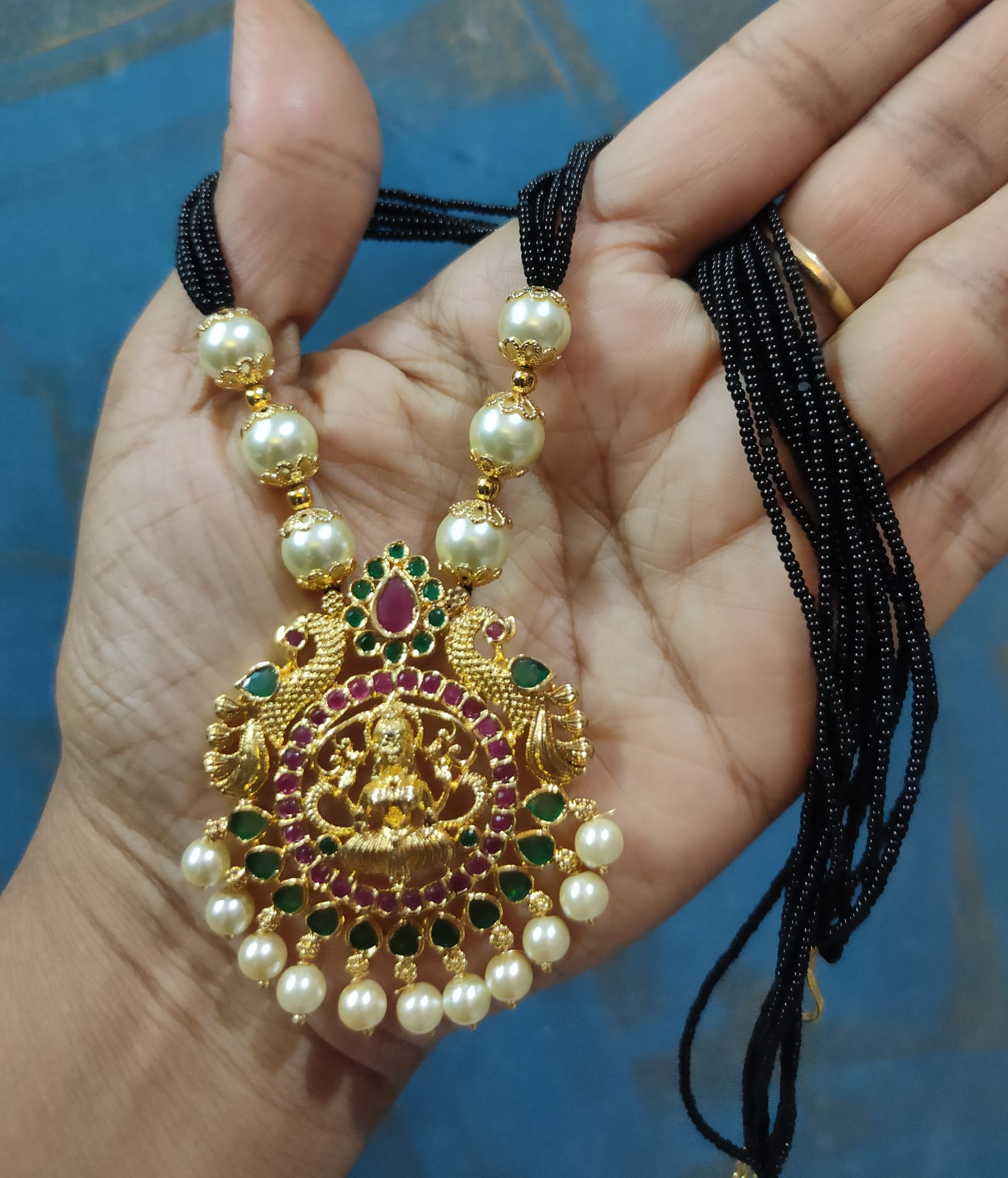 Beautiful one gram gold black bead chain with Lakshmi devi pendant. 1 gram gold mix jewellery 1 gram gold jewellery online shopping cash on delivery one gram temple jewellery