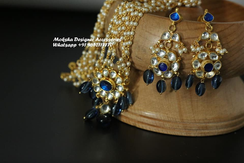 Beautiful one gram gold long haaram and matching earrings studded with kundans.  1gm jewellery online one gram gold earrings 1 gram gold baby earrings