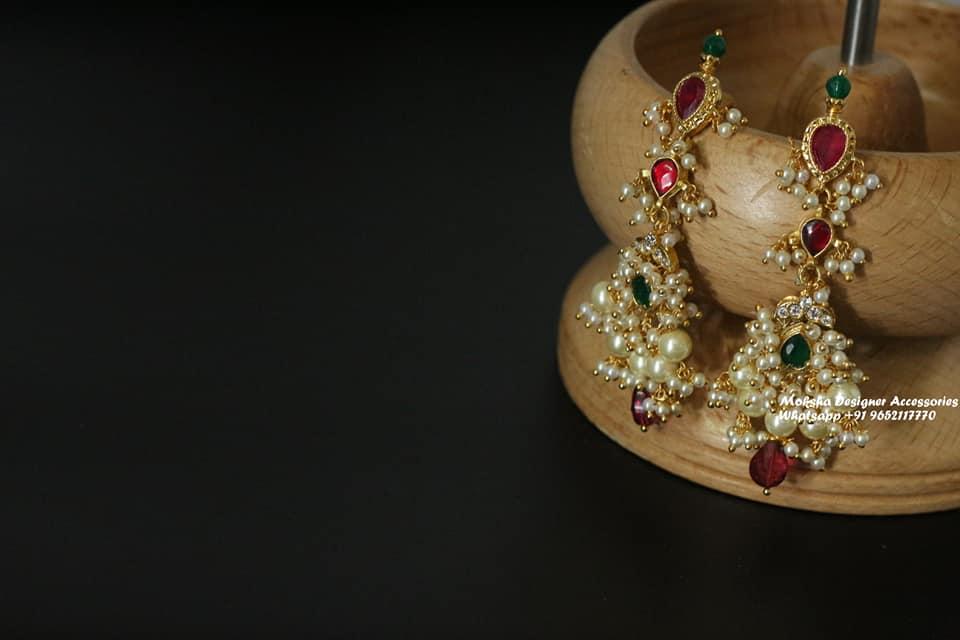 Beautiful one gram gold earrings with guttapusalu hangings. 1gm jewellery online one gram gold earrings 1 gram gold baby earrings