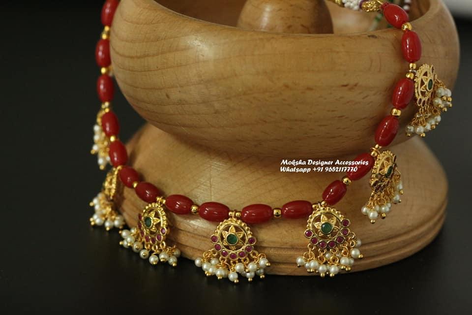 Beautiful one gram gold necklace with guttapusalu botu hangings. one gram gold jewellery parakkat one gram gold jewellery 1 gram gold jewellery set