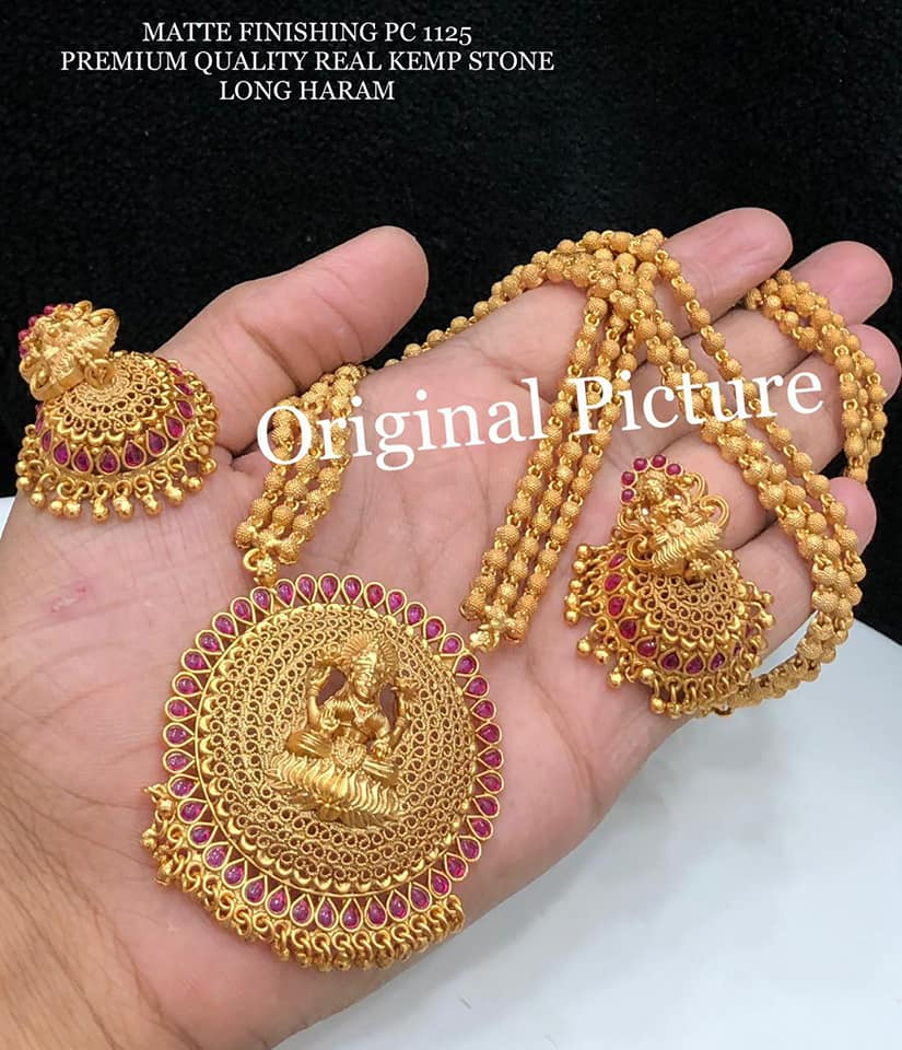 Beautiful one gram gold ball long haaram with Lakshmi devi pendnat. one gram gold online shopping one gram gold jewellery online shopping one gram gold designs with price