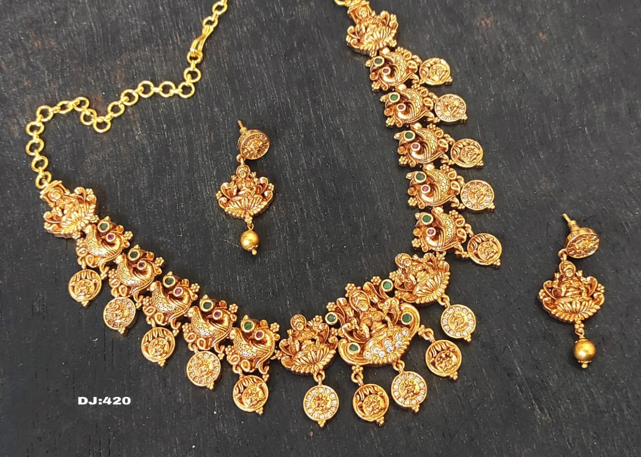 Beautiful one gram gold Lakshmi devi motif necklace. l gram gold jewellery online one gram gold black dori necklace one gram necklaces with price