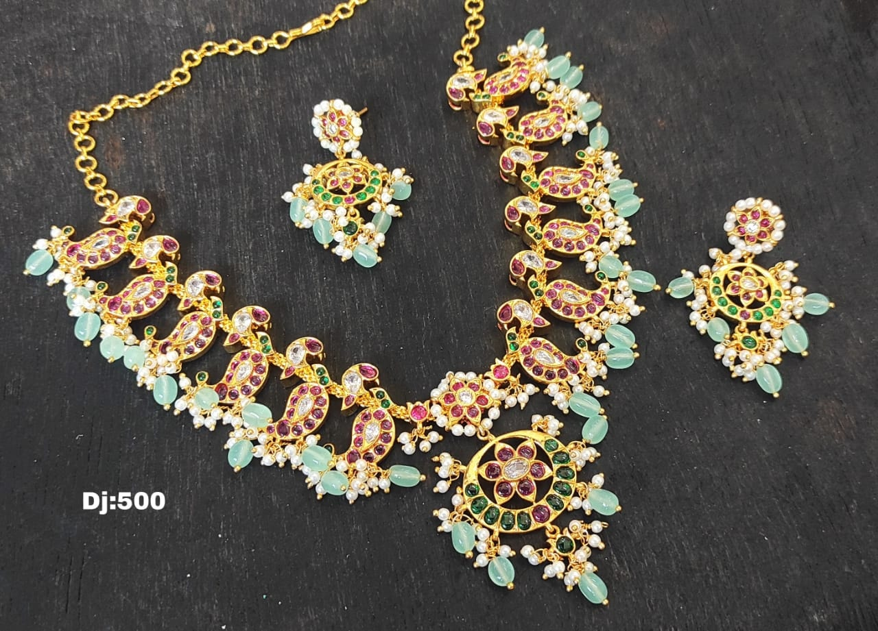 Beautiful one gram gold necklace with mango hangigns. l gram gold jewellery online one gram gold black dori necklace one gram necklaces with price