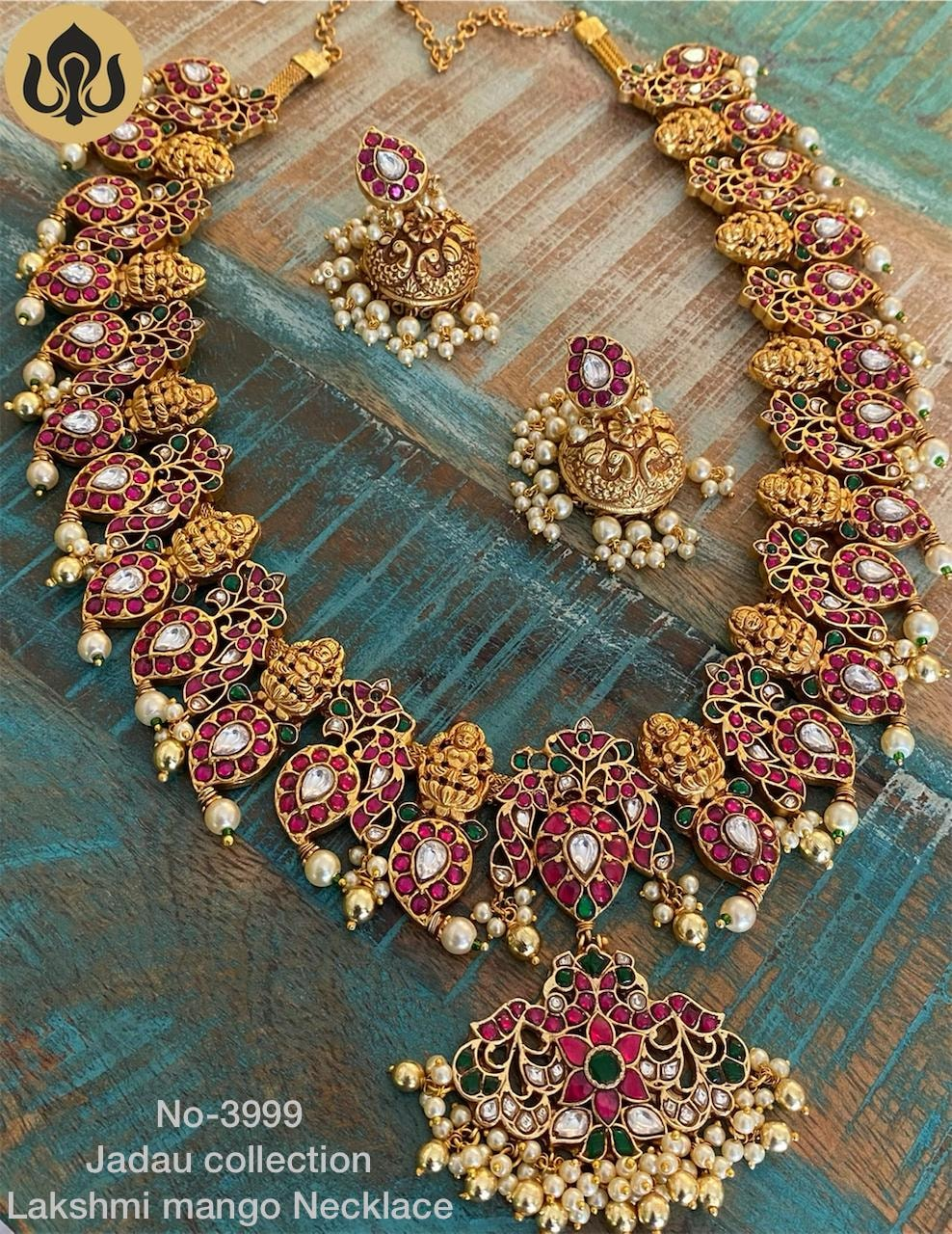 Beautiful one gram gold mango lakshmi necklace with matching jumkhis.  l gram gold jewellery online one gram gold black dori necklace one gram necklaces with price