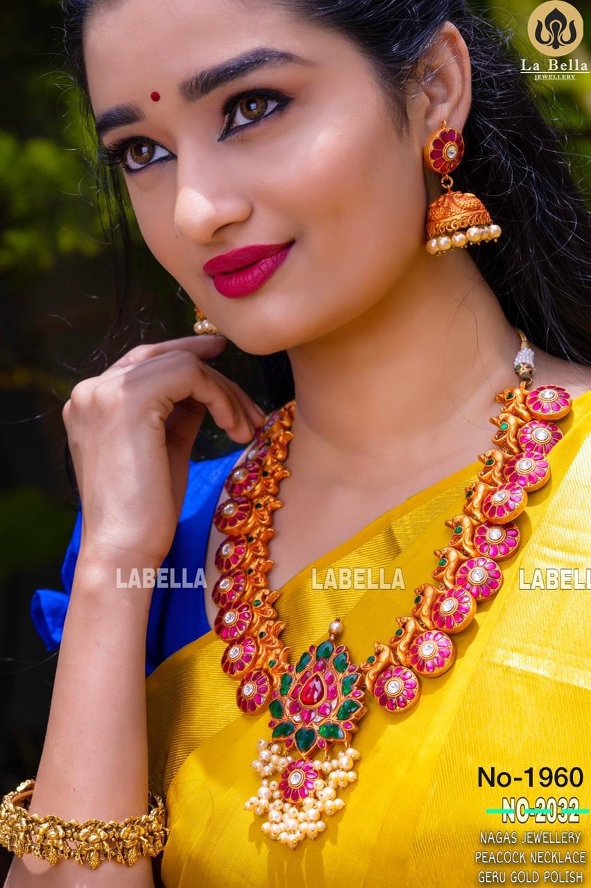 Beautiful one gram gold long haaram with botu hangings. Botumala. latest 1 gram gold jewellery one gram gold ornaments with price 1 gram gold mix jewellery
