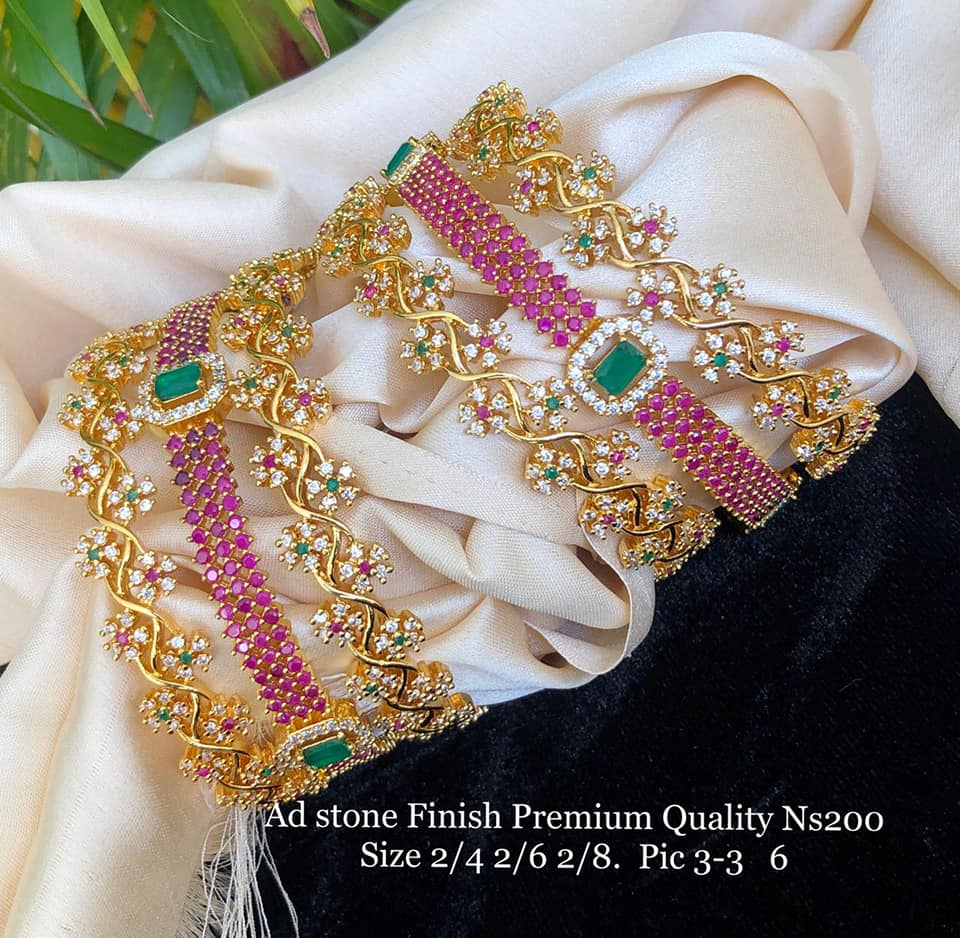 Gorgeous one gram gold bangle set studded with multi color czs. one gram jewellery with price i gram gold jewellery 1 gram gold mix jewellery