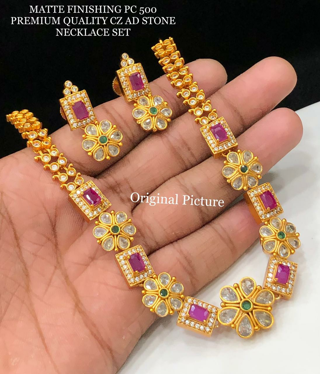 Beautiful one gram gold necklace set studded with CZ AD stones.  online 1gm gold jewellery one gram gold jewellery sets with price antique one gram gold jewellery