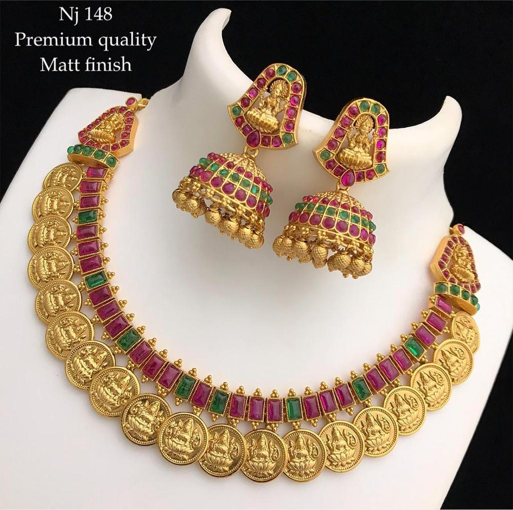Gorgeous one gram gold necklace set with Lakshmi kasu hangings.  Necklace with matching jumkhis. latest 1 gram gold jewellery with price one gram gold online one gram gold chains with price