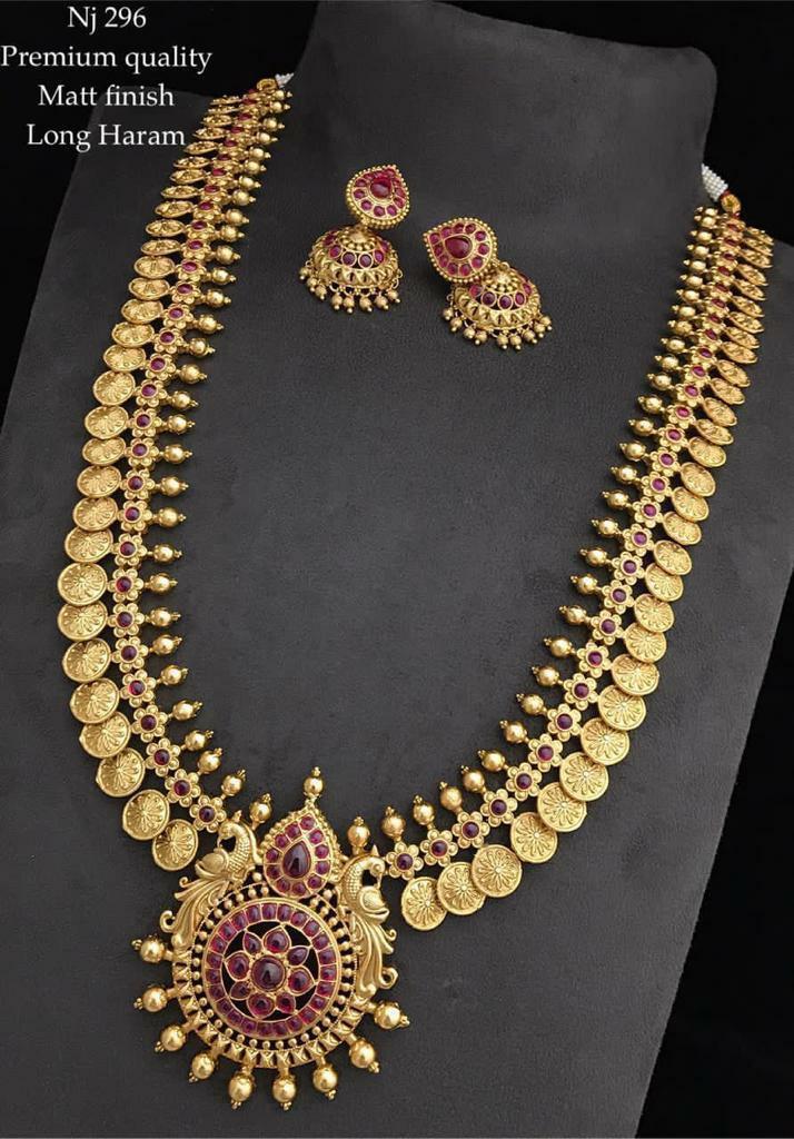 Beautiful one gram gold matte finish kasu haaram with matching jumkhis. guttapusalu haram 1 gram gold 1 gram gold jewellery set one gram gold jewellery sets online