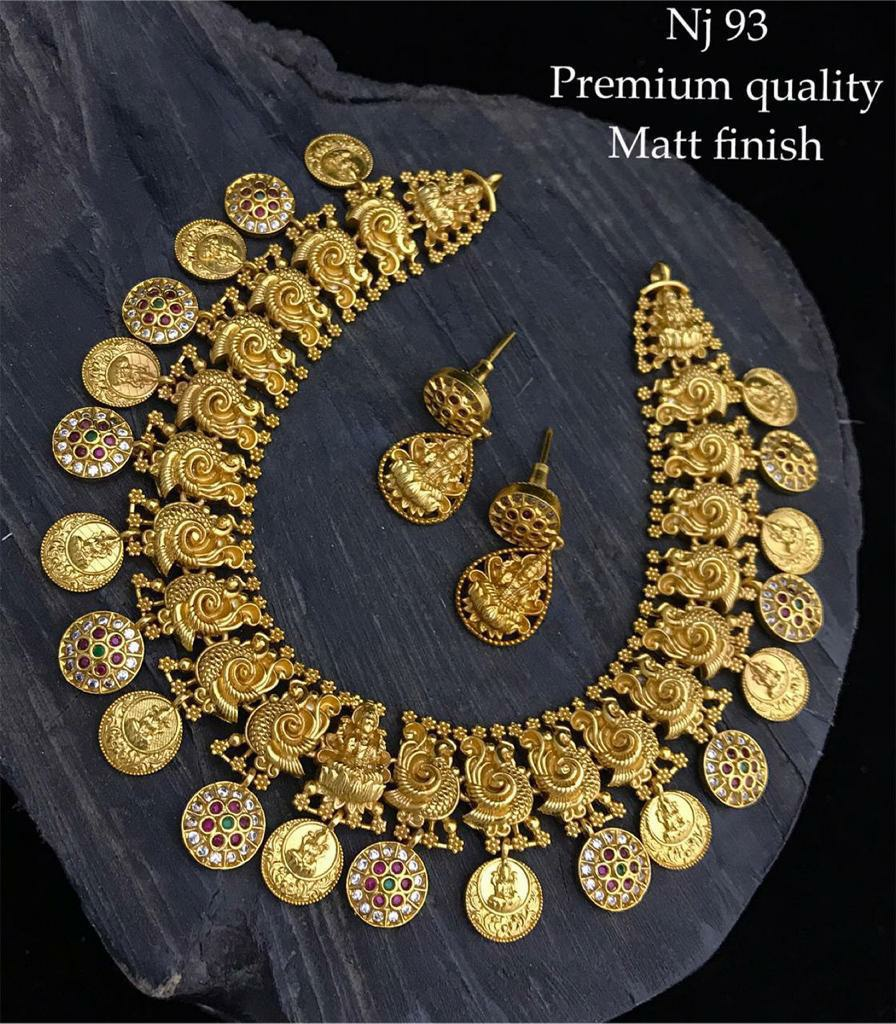 Gorgeous one gram gold peacock choker with Lakshmi and kasu hangings.