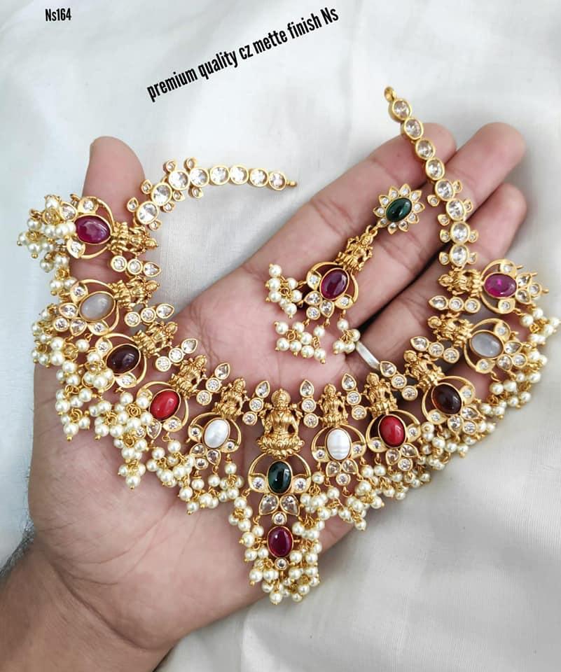 Beautiful one gram gold Lakshmi motif guttapusalu necklace. one gram gold necklace designs with price latest 1 gram gold jewellery one gram gold chains with price