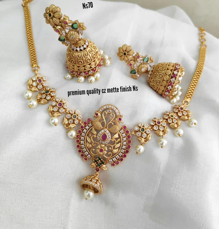 Beautiful one gram gold necklace with matching jumkhis. one gram gold necklace designs with price latest 1 gram gold jewellery one gram gold chains with price