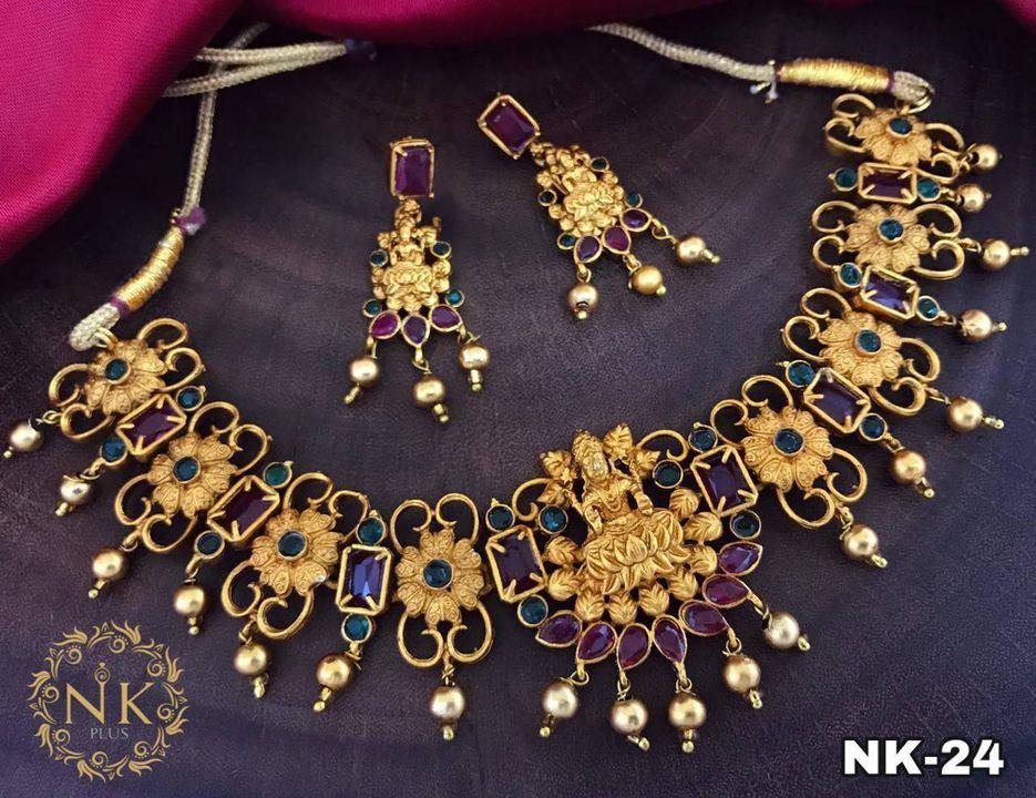 Beautiful one gram gold Lakshmi devi and floral motif necklace. 1 gram imitation jewellery one gram gold sets online one gram gold necklace set with price