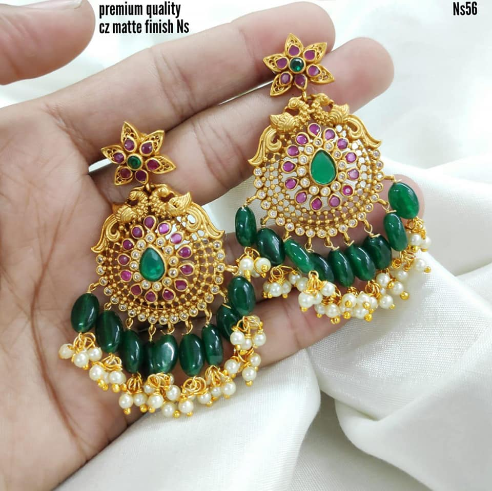 Beautiful one gram gold  peacock chaandbalis studded with multi color CZZs. Chaandbalis with guttapusalu hangings.         1 gram gold sets with price best one gram gold jewellery online lali mix one gram jewellery