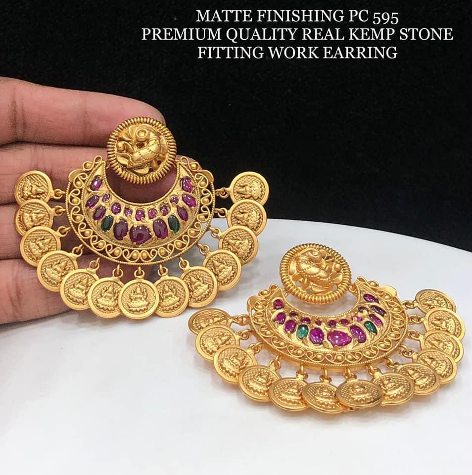 Beautiful one gram gold  chaandbalis with Lakshmi kasu hangings. lali mix one gram jewellery buy 1 gram gold jewellery online one gram jewellery wholesale