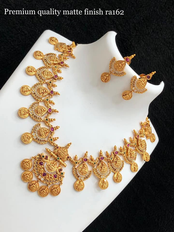 Gorgeous one gram gold Lakshmi kasu necklace. one gram gold ornaments 1 gm gold chain price 1gm jewellery designs