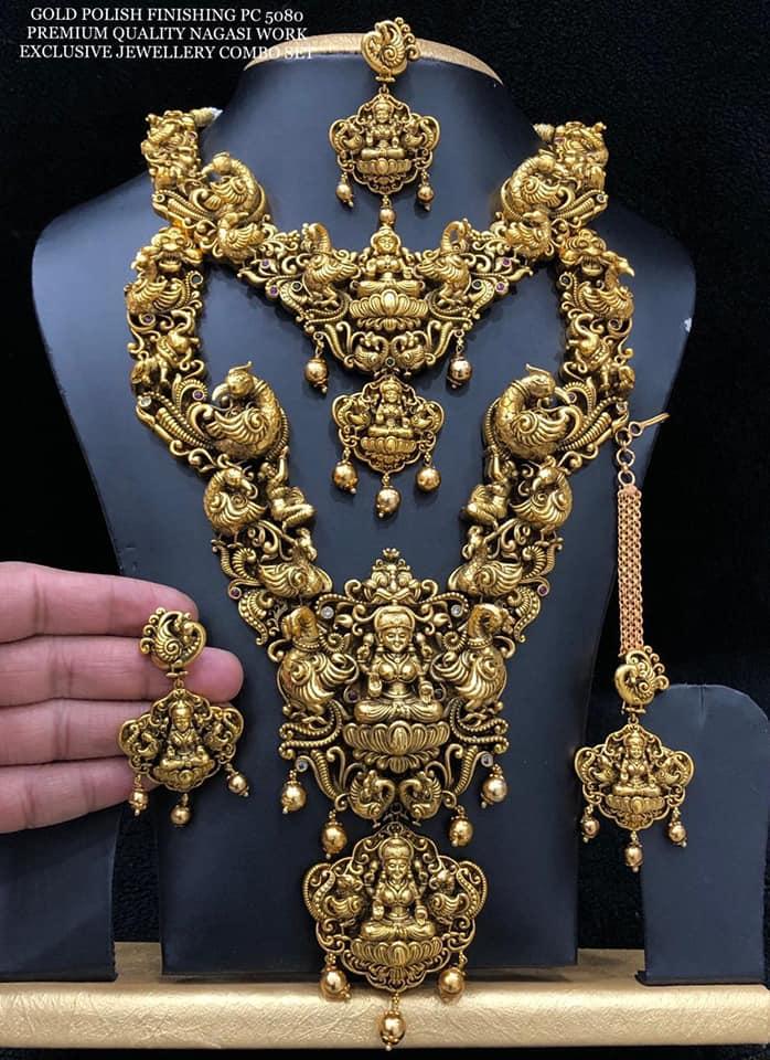 Gorgeous one gram gold lakshmi nakshi work haaram. one gram gold haram designs with price i gram gold jewellery 1 gram gold ornaments