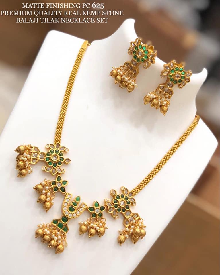 Beautiful matt one gram gold Balaji tilak necklace set. 1 gram gold long necklace 1 gram gold items 1 gram temple jewellery