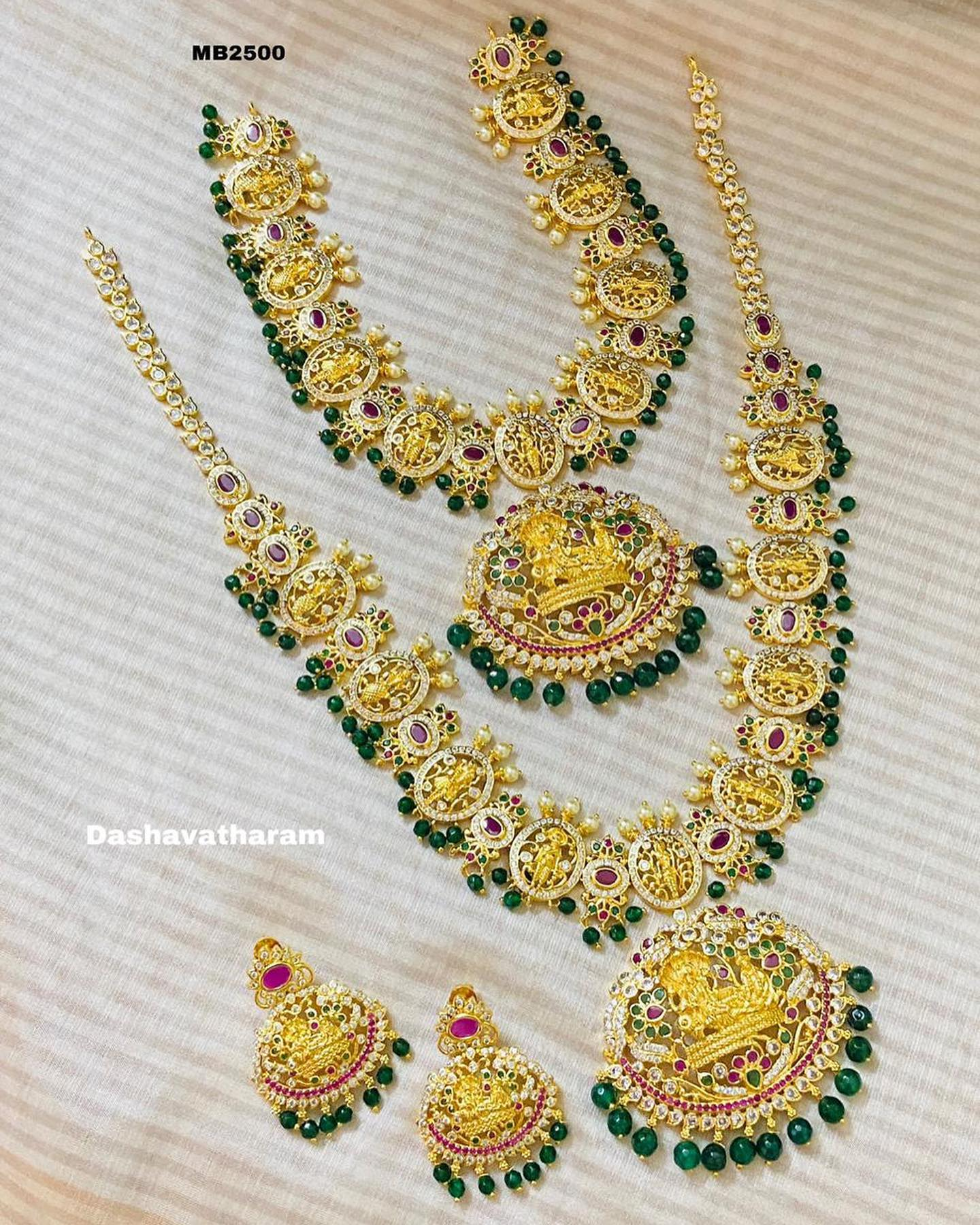 Beautiful one gram gold Dasavatar long haaram and necklace. one gram gold wholesale one gram gold bridal sets online with price one gram gold thali chain