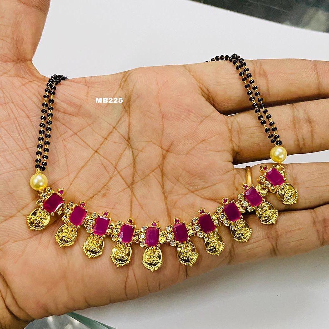 Beautiful one gram gold black bead studded with czs. one gram gold black beads chain one gram gold jewellery with price 1gm gold jewellery