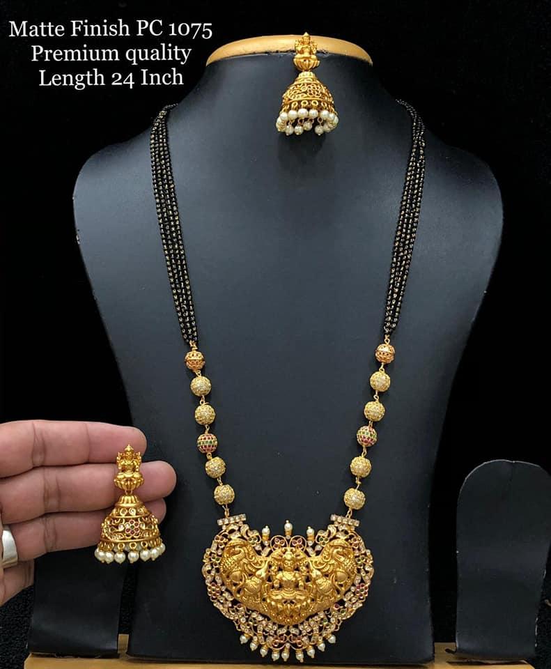 Beautiful one gram gold black bead with  Lakshmi devi pendant.  cz one gram gold jewellery online matte finish one gram gold jewellery one gram jewellery wholesale