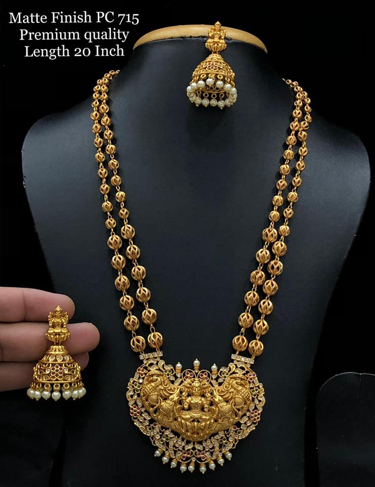 Beautiful one gram gold gold ball chain with Lakshmi devi pendant. 1 gram gold anklets 1 gram gold jewellery in begum bazar one gram gold jewellery online shopping in hyderabad with price