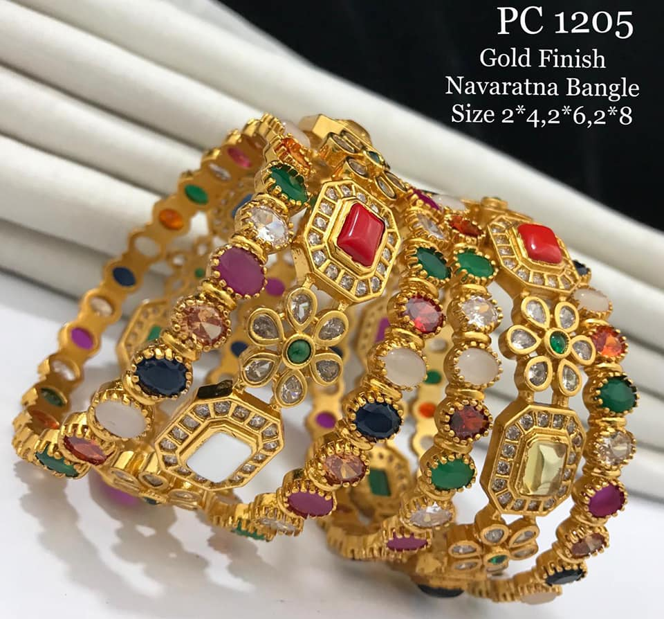 Gorgeous one gram gold bangles studded with navaratan stones. 1 gram gold set 1 gram gold bangles online shopping one gram gold kada