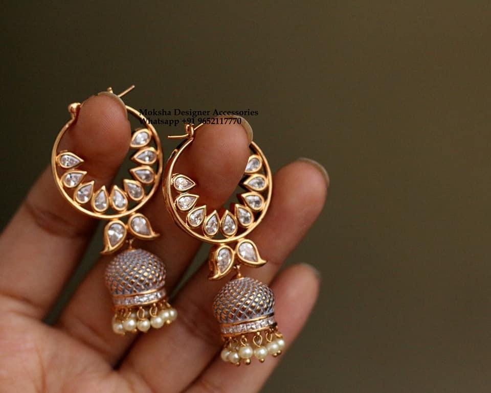 Stunning one gram jumkhis studded with kundans.