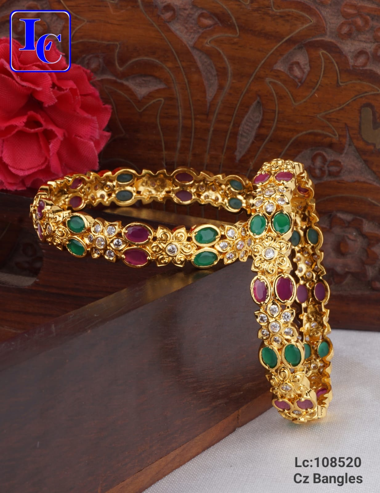 Stunning one gram gold bangle studded with multi color CZs.  one gram gold jewellery online with price one gram gold bridal sets online with price one gram gold jewellery online shopping in hyderabad with price