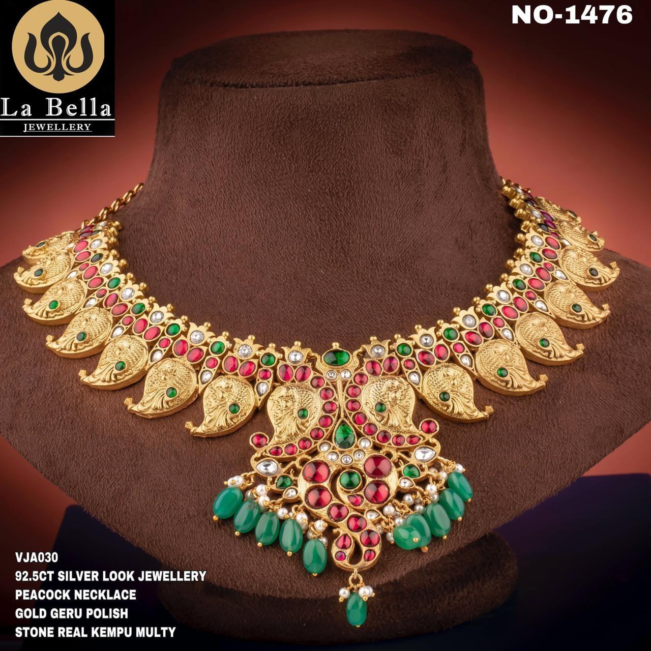 Stunning one gram gold mango necklace studded with kempu stones. one gram gold thali chain 1 gram necklace 1 gram gold necklace with price