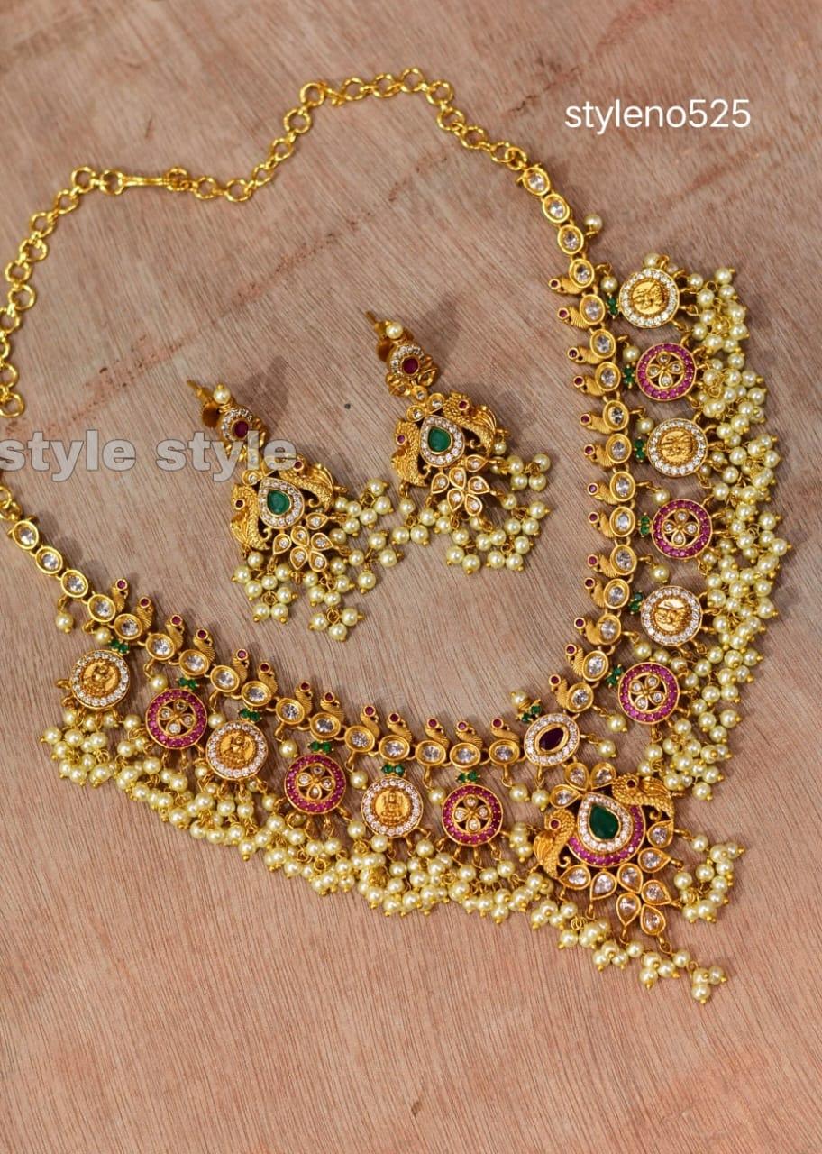 Stunning one gram gold guttapusalu necklace. 1 gram gold set 1 gram gold jewellery for wedding one gram gold jewellery designs