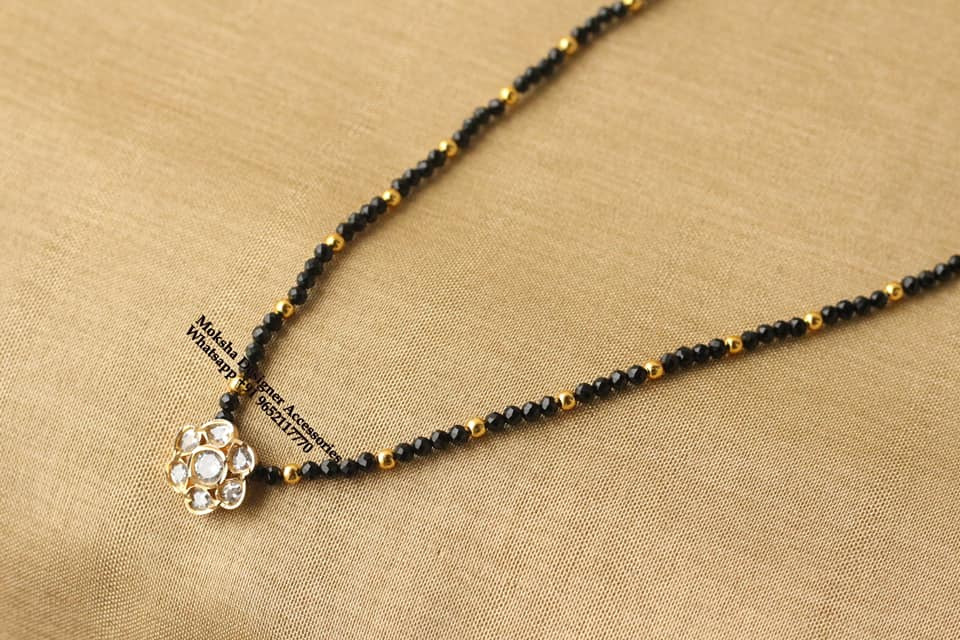 Beautiful one gram gold Black bead chain with flower pendnat. 1gm jewellery one gram gold black beads mangalsutra one gram gold temple jewellery