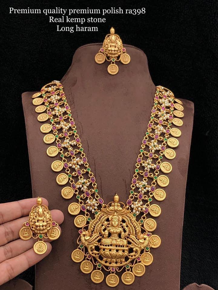 Beautiful one gram gold or matte finish Lakshmi kasu long haaram with matching earrings.