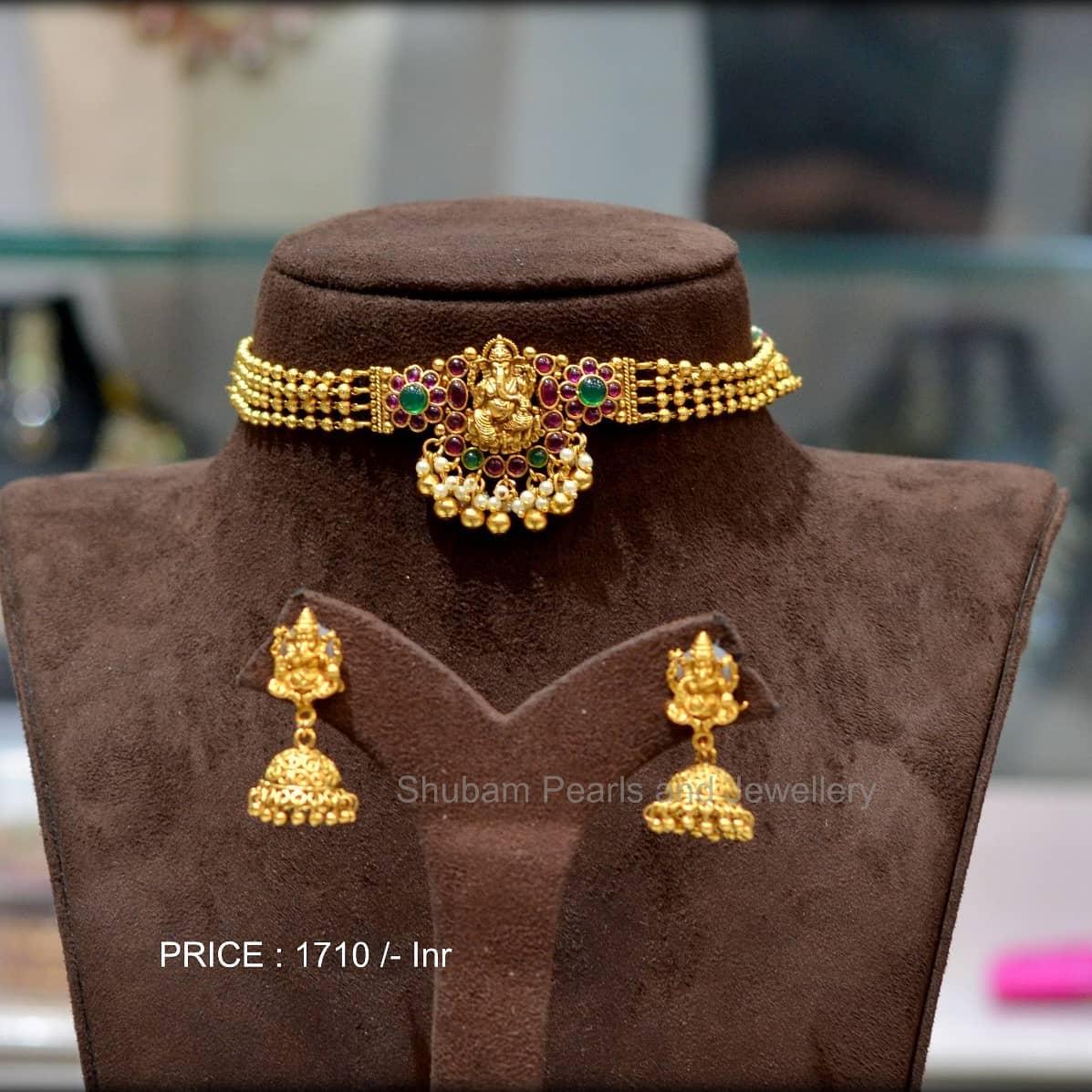 Beautiful one gram gold bead choker with Lord Vinayak pendant and matching jumkhis. 1 gram gold jewellery online matte finish 1 gram gold jewellery one gram gold jewellery parakkat