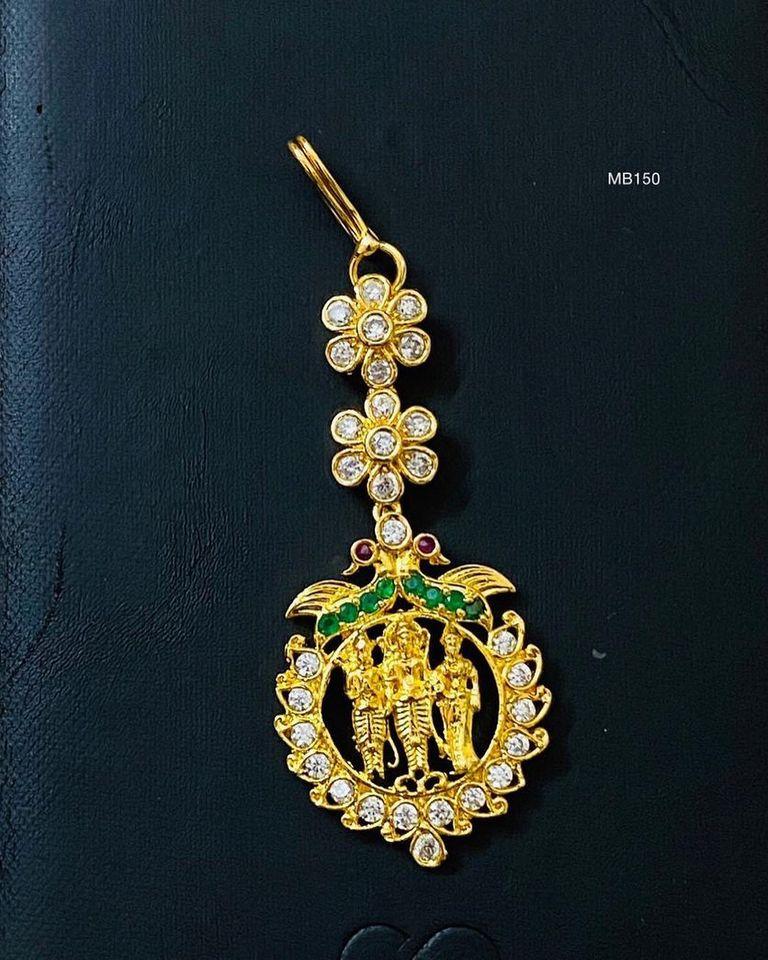 Beautiful one gram gold Maang Tikka with Ram parivar pendnat.