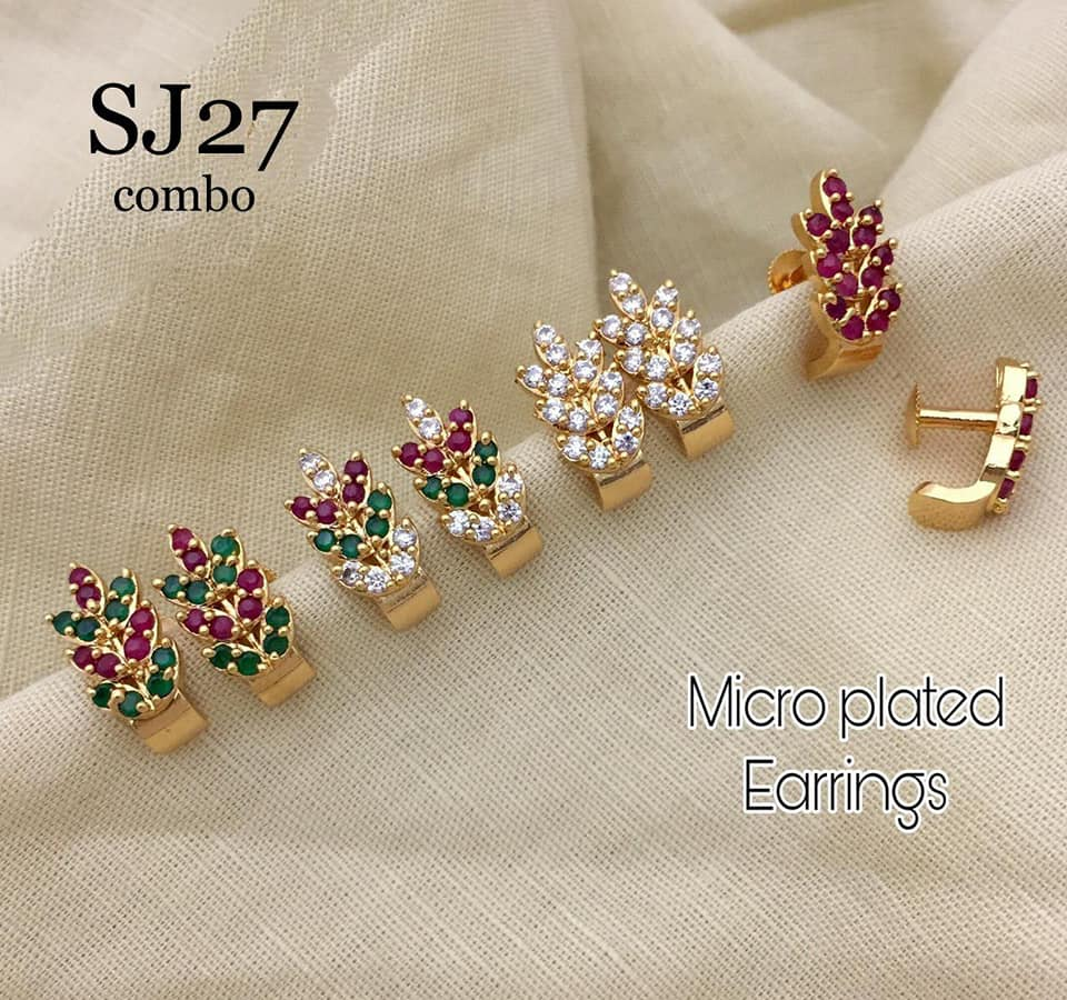 Beautiful one gram gold micro plated earrings studded with multi color stones. one gram gold earrings online 1 gram temple jewellery 1 gram gold sets with price
