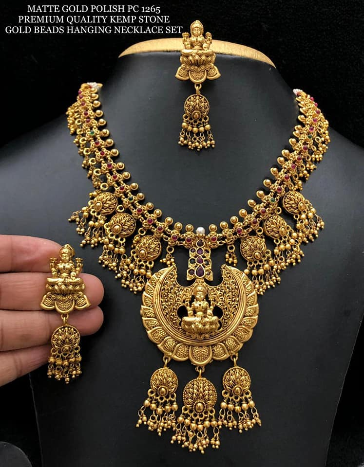 Antique matte finish Laxmi necklace with matching earrings…. chilakalapudi one gram gold jewellery one gram gold jewellery online 1 gm gold necklace designs with price