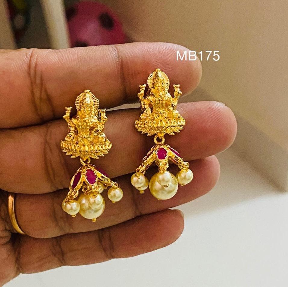 Gorgeous one gram gold Lakshmi devi jumkhis. 1 gm gold chain online 1 gram gold items one gram gold plated chain