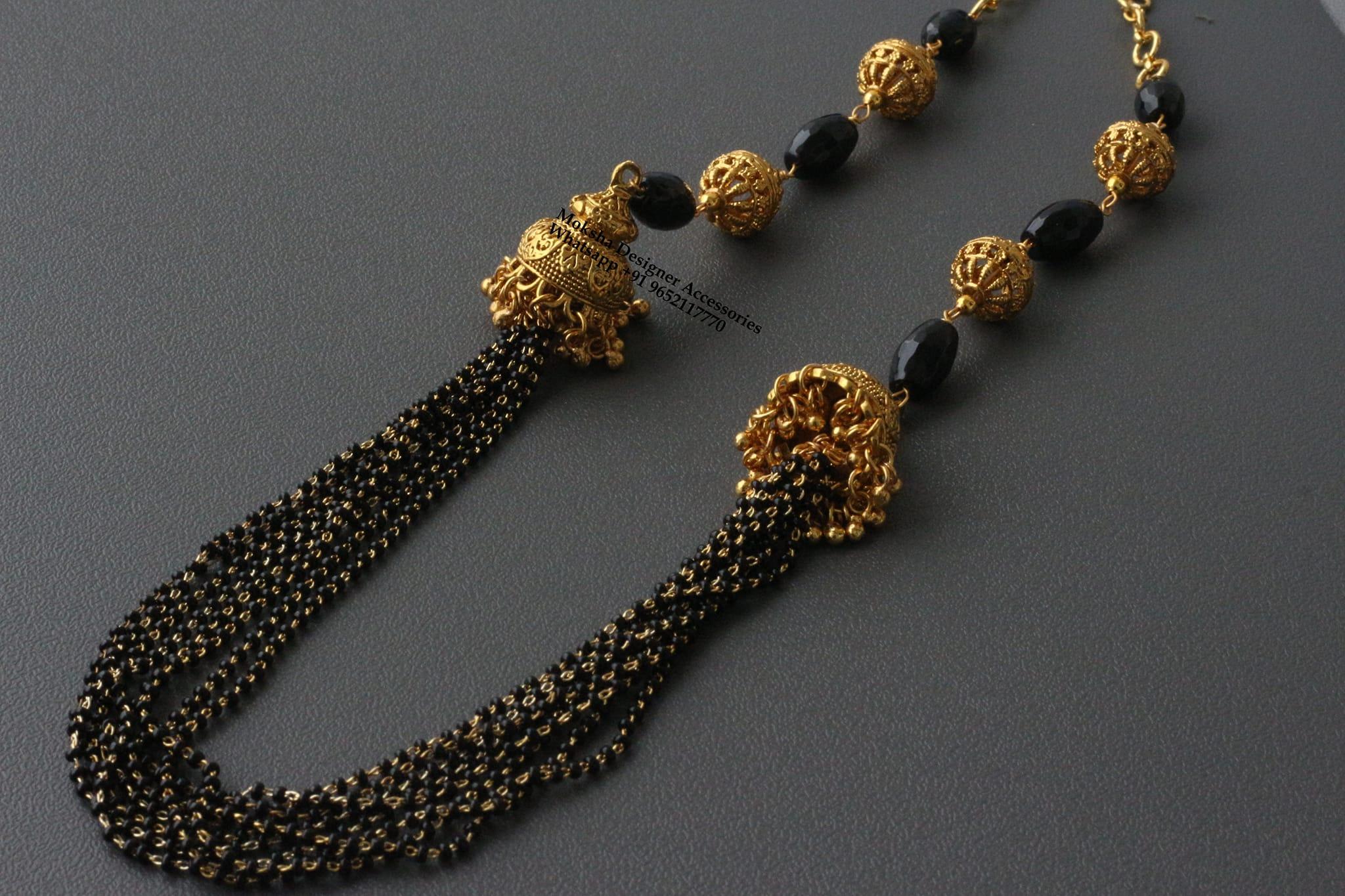 Gorgeous one gram gold black bead haaram.
