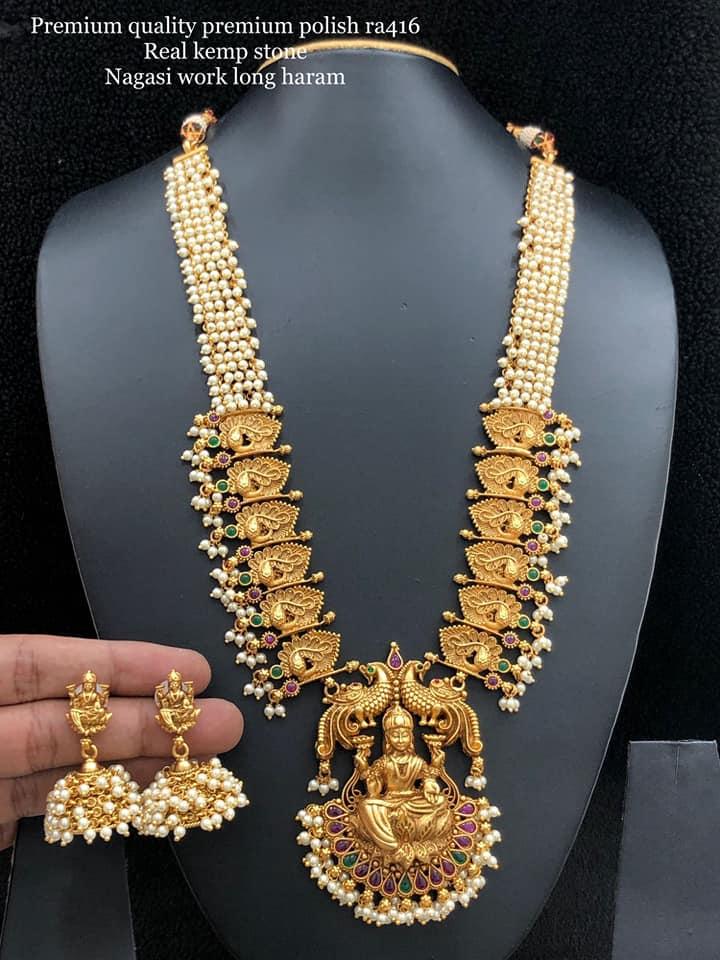 Beautiful one gram gold Lakshmi devi pendant long haaram. one gram gold jewellery one gram gold cz jewellery with price one gram gold haram designs with price