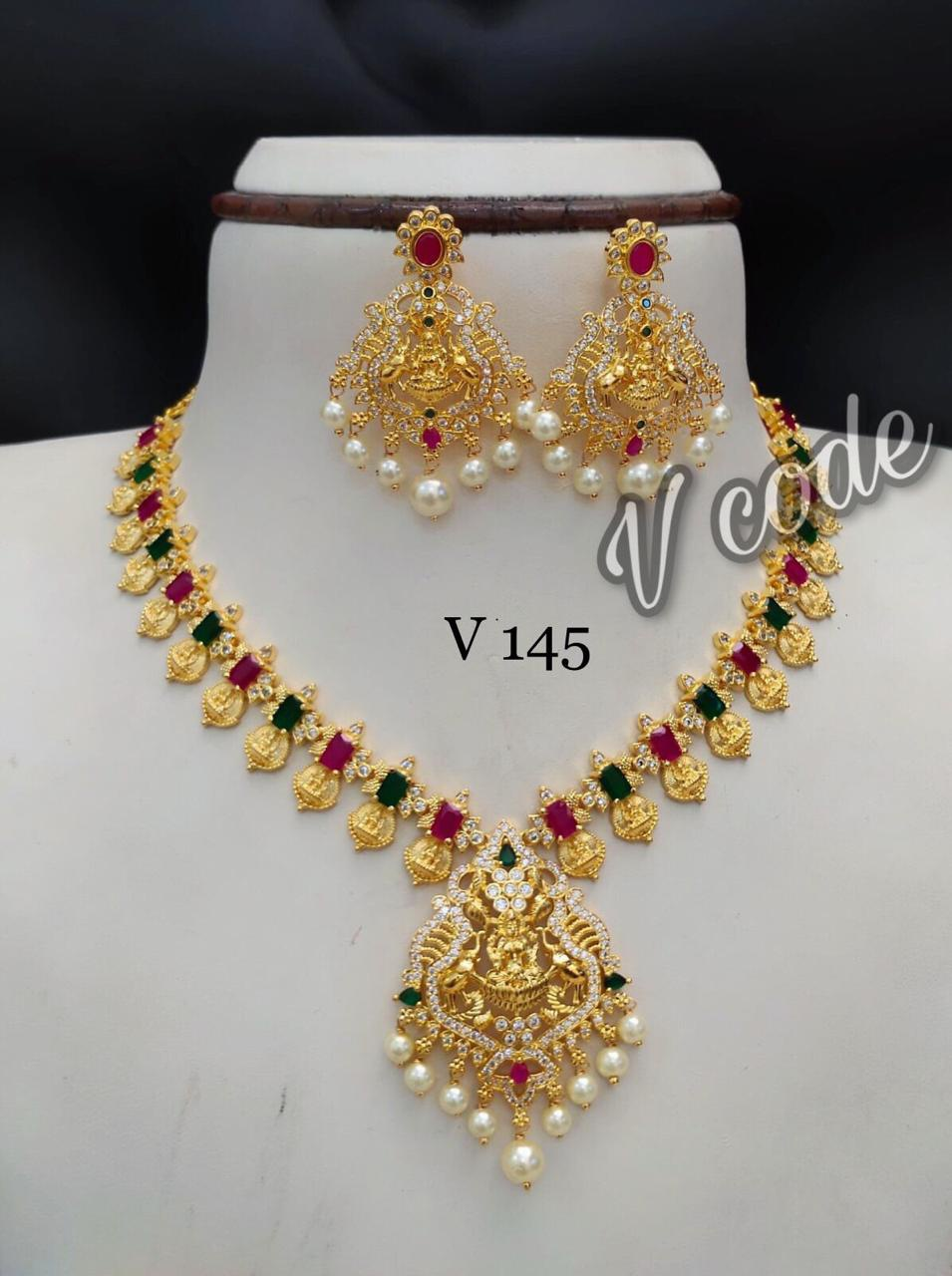 Gorgeous one gram gold  Lakshmi kasu necklace with chaadnbalis. one gram jewellery designs 1 gram gold jewellery in begum bazar one gram gold ornaments