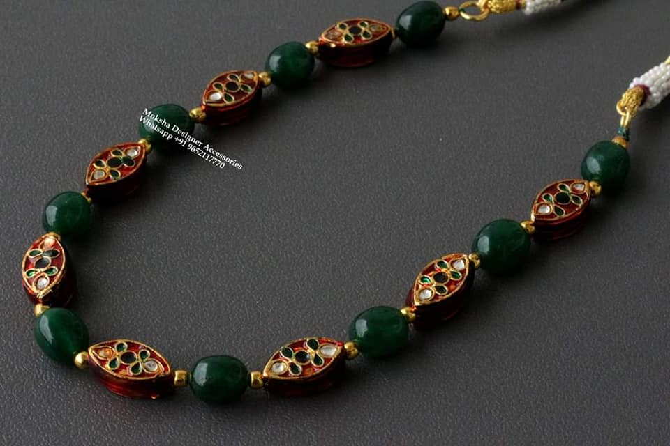 Gorgeous one gram gold  green bead long haaram. 1 gram gold jewellery wholesale online 1 gram gold mix jewellery 1 gram gold designs