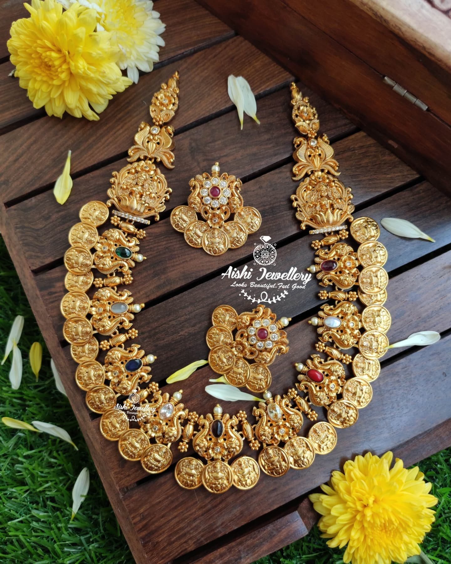 Beautiful one gram gold lakshmi kasu necklace and matching earrings. 1gm gold jewellery online 1 gram gold chain for ladies begum bazar one gram gold shops