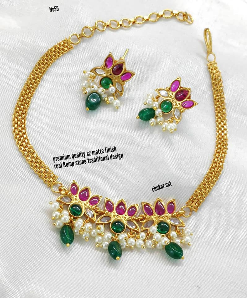 Gorgeous one gram gold triple lotus choker with matching earrings. one gram gold ornaments with price one gram gold wholesale one gram gold online