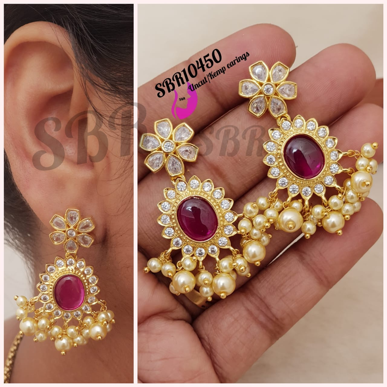 Gorgeous one gram gold  earrings studded with multi color CZs and pearl hangings.  1 gram gold jewellery with price one gram gold designs 1 gram earrings gold