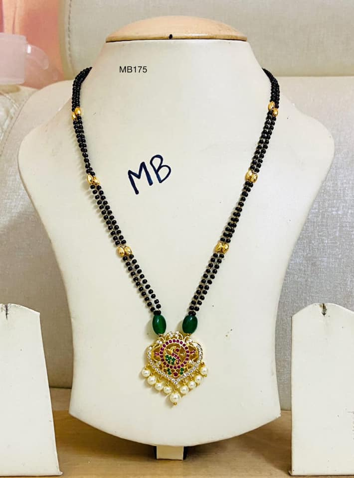 Gorgeous one gram gold  black bead chain with pendant.