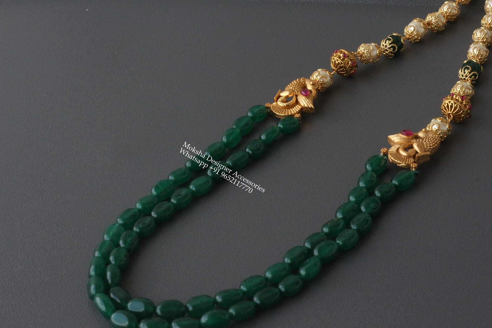Gorgeous one gram gold green bead long haram with peacock side brooch. 1 gram gold jewellery online shopping cash on delivery one gram gold chain designs 1 gram gold chain for baby