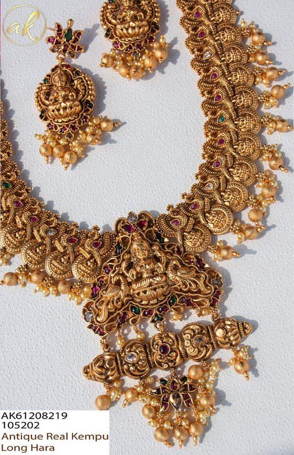 Beautiful one gram gold lakshmi devi motif choker and matching earrings.     one gram gold designs 1 gram gold chains online 1 gm gold chain designs